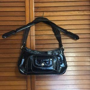 Women's  black Perlina glossy shoulder bag